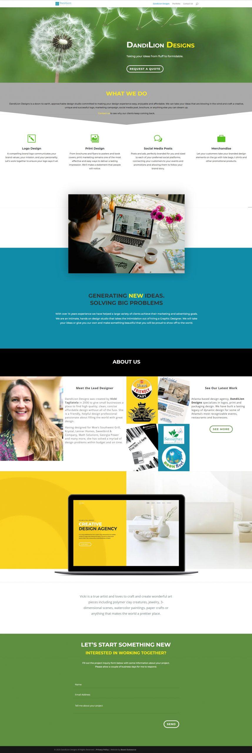image of DandiLion Design website