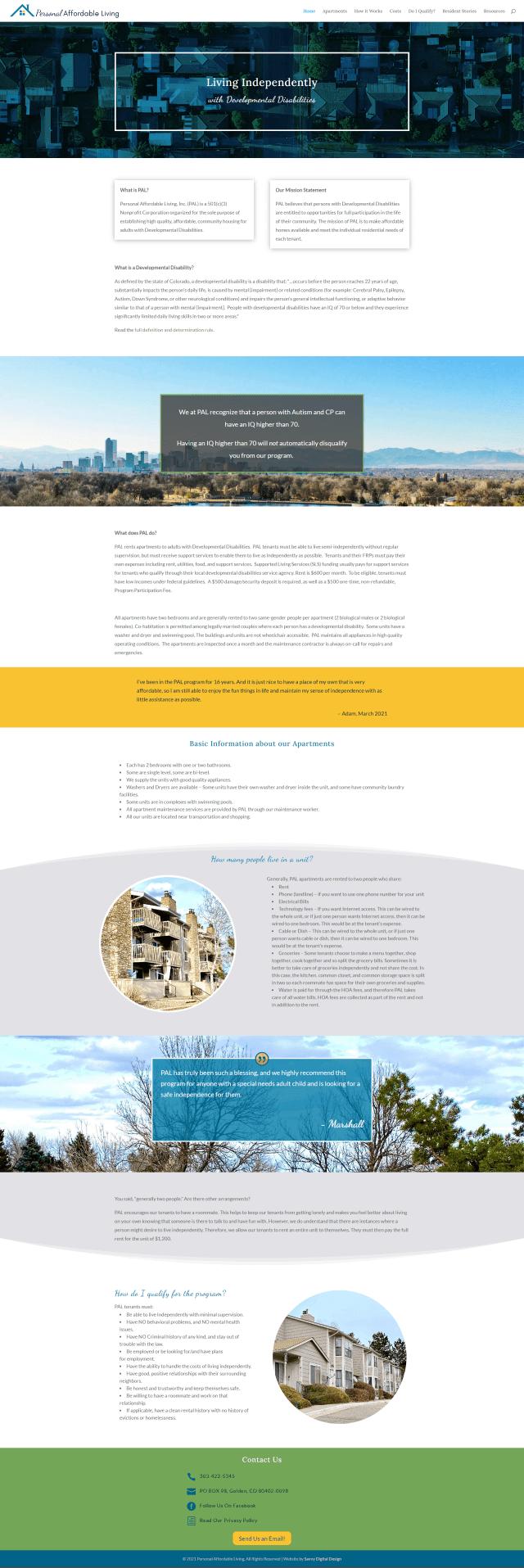 screenshot of PAL website page 1